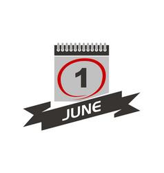 1 june calendar with ribbon vector