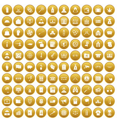 100 criminal offence icons set gold vector