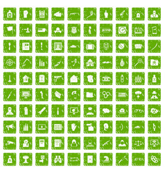 100 violation icons set grunge green vector