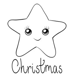 A coloring bookpage a cute star with lettering vector