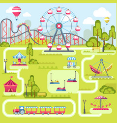 Amusement park attractions flat plan vector