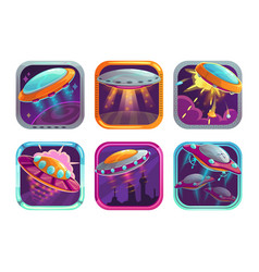App icons with fighting ufos space wars game logo vector