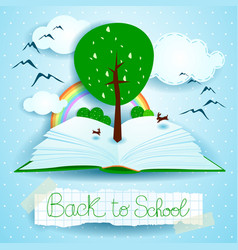 back to school open book with landscape and tree vector image