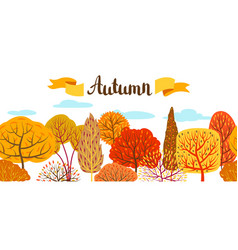 banner with autumn stylized trees vector image