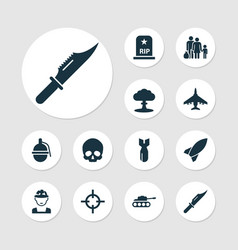 Battle icons set with soldier knife sniper and vector