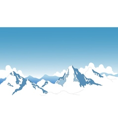 Beauty snow mountain cartoon vector