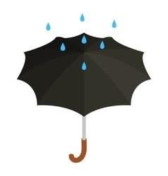 Black umbrella with rain icon isometric 3d style vector