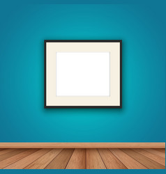 Blank picture frame in room interior vector