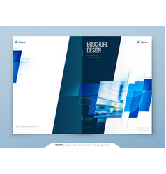 Blue brochure cover template layout design vector