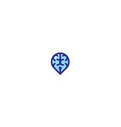 brain pin logo icon vector image