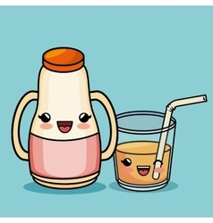 breakfast ingredients character kawaii style vector image