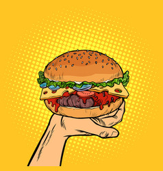 burger on hand fast food vector image