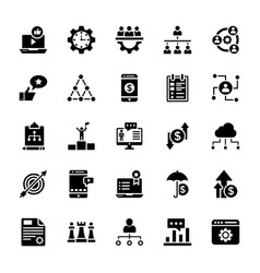 Business services glyph icons set vector