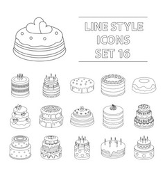 cakes set icons in outline style big collection vector image