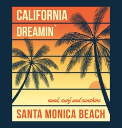 California t shirt graphics with palms santa vector