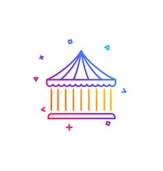 Carousels line icon amusement park sign vector