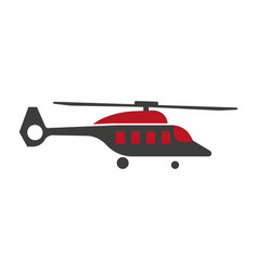 cartoon helicopter or rotor plane icon in flat vector image