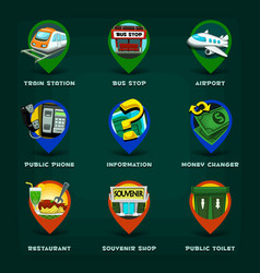Cartoon map place item icon collection set vector