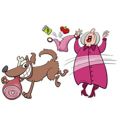 Cartoon naughty dog stealing ham from an old lady vector