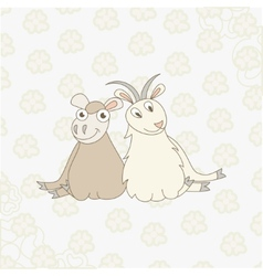 Cartoon sheep and goat on floral background vector