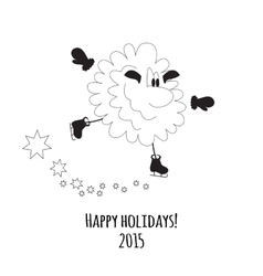 Cartoon sheep on skates vector image