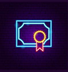 certificate neon label vector image