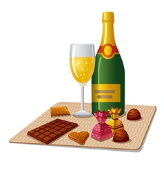 Champagne and candy vector