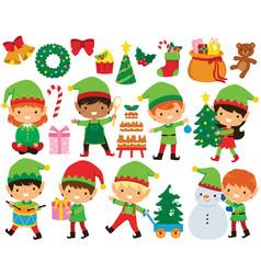 Christmas elves clipart set vector