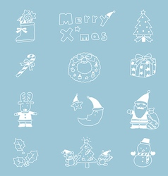 Christmas Icon Set hand drawn vector image