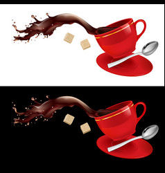coffee in red cup on white and black background vector image