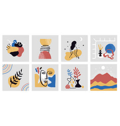 Collection hand drawn modern colorful art vector