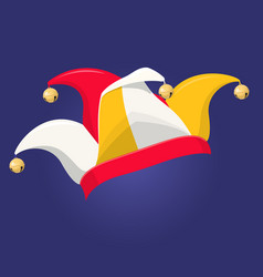 colored jester hat with bells vector image
