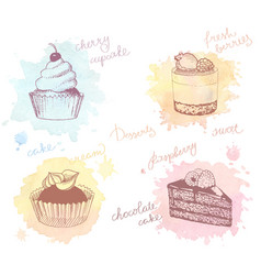 colored sketches of cupcakes berry pie and cake vector image