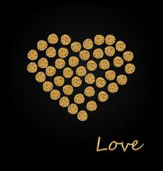 Creative sparkling heart made by golden glitter vector
