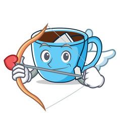 Cupid tea cup character cartoon vector