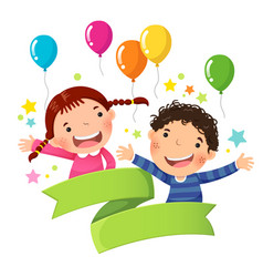 Cute boy and girl with balloon and blank ribbon vector