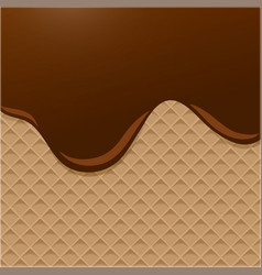 dark chocolate melted on wafer background vector image