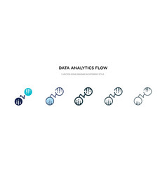 data analytics flow icon in different style two vector image