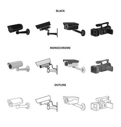 Design camcorder and camera icon set of vector