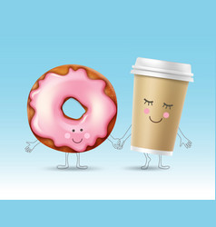 Donut and coffee character vector