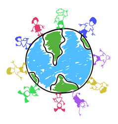 Doodle color kids around the world vector