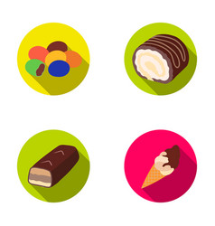 Dragee roll chocolate bar ice cream chocolate vector
