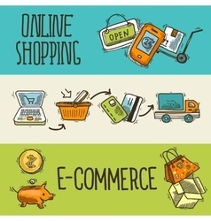 E-commerce design sketch banner vector image