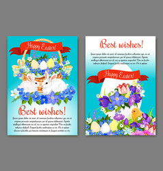 Easter greeting card and poster template design vector