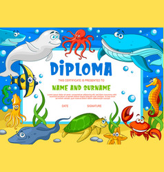 education diploma for school underwater animals vector image