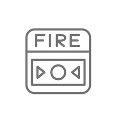 Fire alarm system button line icon isolated vector
