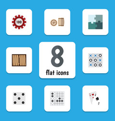 Flat icon entertainment set of gomoku ace dice vector
