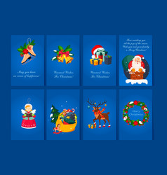flat set of 8 greeting cards for christmas vector image