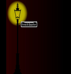 French quarter sign with lamp vector