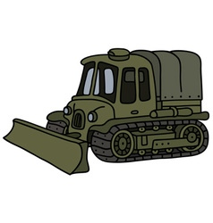 Funny vintage military tracked vehicle vector